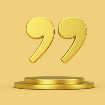 노란색 배경에 황금 받침대 위에 황금 인용 기호 아이콘 기호. 3d 렌더링