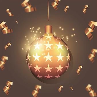 작은 별과 황금 현실적인 크리스마스 공입니다. 휴일 개념입니다. 새 해 공입니다.