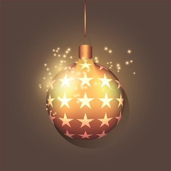 작은 별과 황금 현실적인 크리스마스 공입니다. 휴일 개념입니다. 새해 장난감