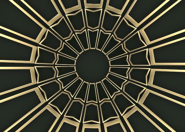 Golden rectangle pattern arrange in circle shape wall background