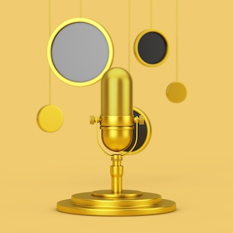 Golden retro microphone on a golden pedestal with hanging abstract circles on a yellow background. 3d rendering