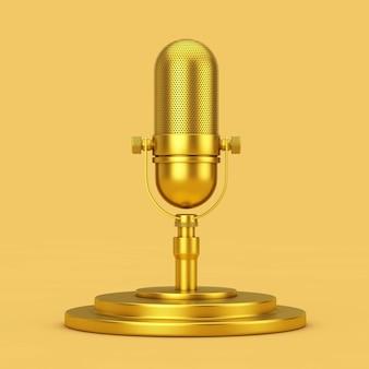 노란색 바탕에 황금 받침대에 황금 복고풍 마이크. 3d 렌더링