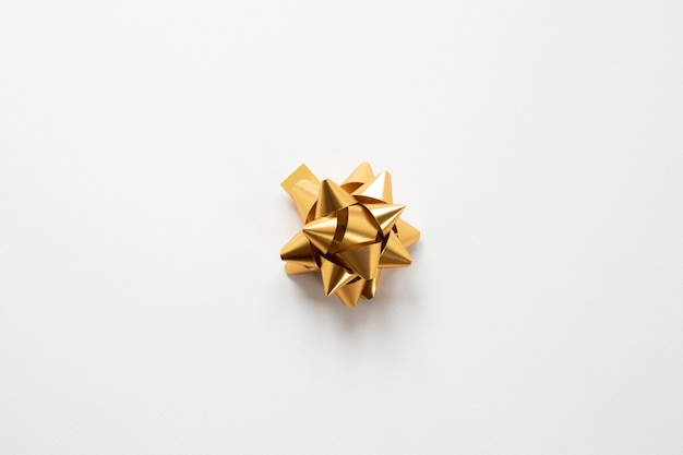 Golden ribbon on white background