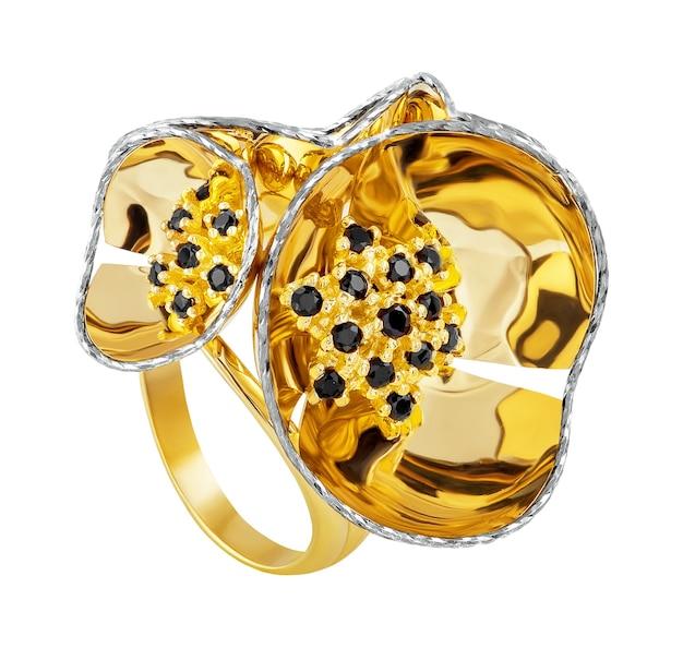 Golden ring fashionable stylish isolated on white.