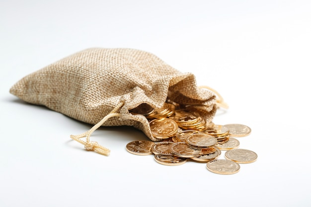 Golden rmb coins in cloth bag