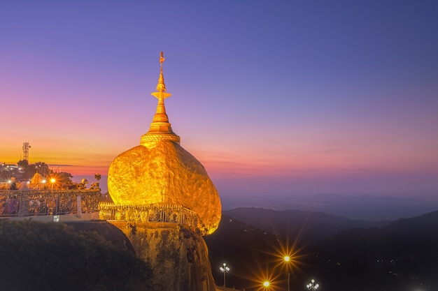 Golden rock pagoda in morning