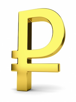 Golden rouble sign isolated on white