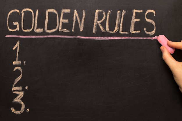 Golden rules - on the blackboard with chalk and a checklist