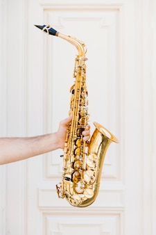 Golden saxophone held by person