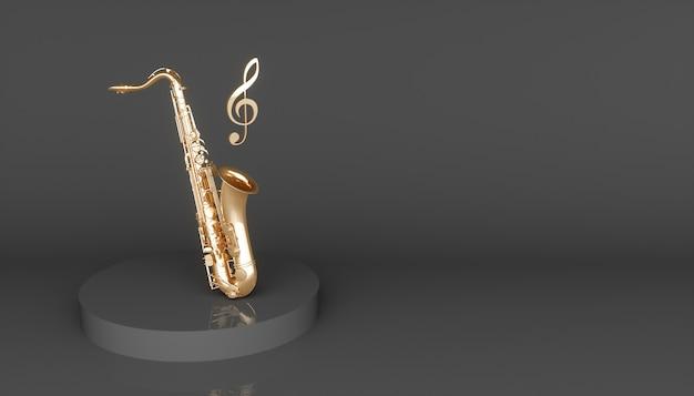 Золотой саксофон на черном фоне, 3d иллюстрация