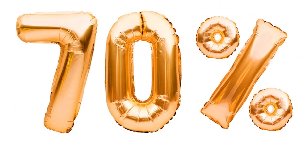 白で隔離される膨脹可能な風船で作られた黄金の70%記号。ヘリウム風船、金箔の数字。セール装飾、70%オフ
