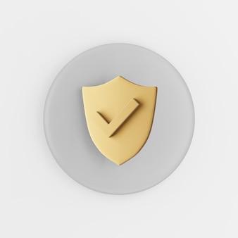 金色の盾のアイコン。 3dレンダリングの灰色の丸いキーボタン、インターフェイスuiux要素。