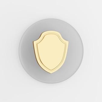 金色の盾のアイコン。 3dレンダリングの丸い灰色のキーボタン、インターフェイスuiux要素。