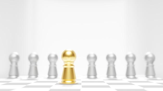 他のぼやけたポーンの中で金色に輝くチェス。
