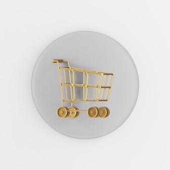 바퀴 아이콘에 황금 쇼핑 카트입니다. 3d 렌더링 회색 라운드 키 버튼, 인터페이스 ui ux 요소.