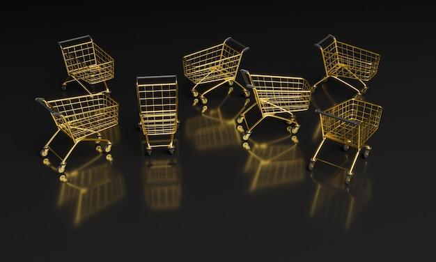 黒の背景に金色のショッピングカート