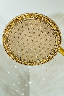Golden shower head on wall with faience