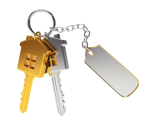 Golden and silver house-shape keys with empty keychain