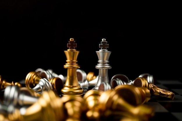 Golden and silver king chess is last standing in the chess board
