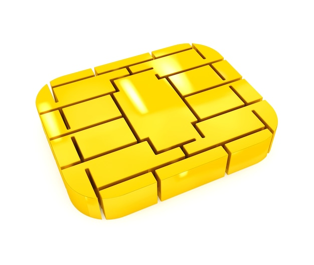 Golden sim or credit card microchip on a white background