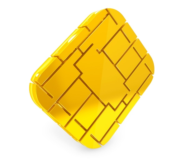 Golden sim or credit card microchipon a white background