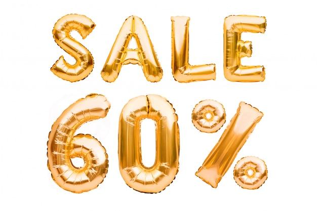 白で隔離される膨脹可能な風船で作られた黄金の60%販売サイン。ヘリウム風船、金箔の番号。