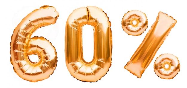 白で隔離される膨脹可能な風船で作られた黄金の60%記号。ヘリウム風船、金箔の数字。セール装飾、60%オフ