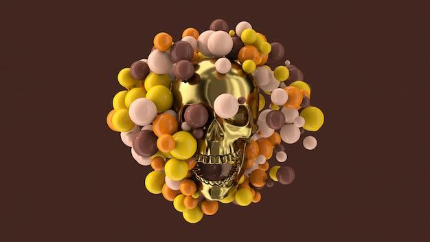 黄金の頭蓋骨とカラフルなボール。抽象的なイラスト、3dレンダリング。