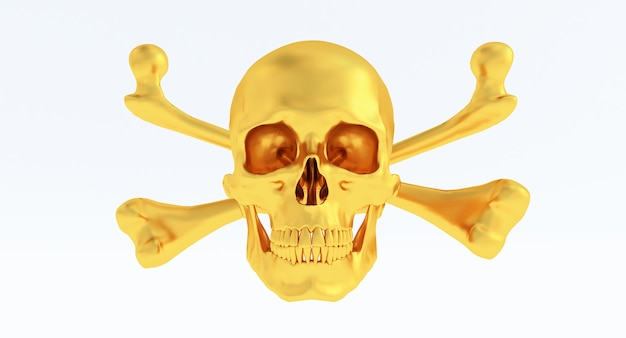 Золотой череп и скрещенные кости, изолированные на белом фоне.