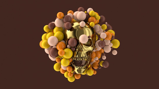 Golden skull and colorful balls. abstract illustration, 3d render.