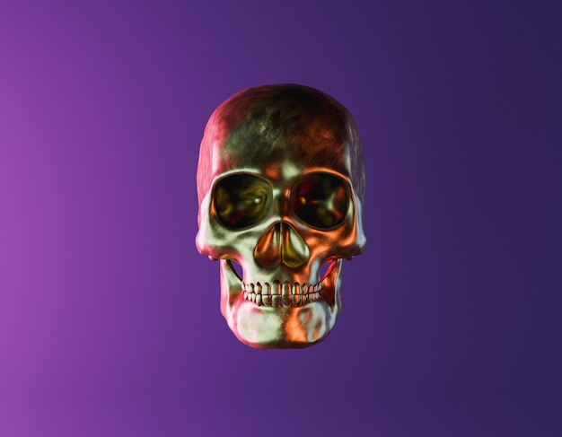 Золотой череп с неоновым освещением