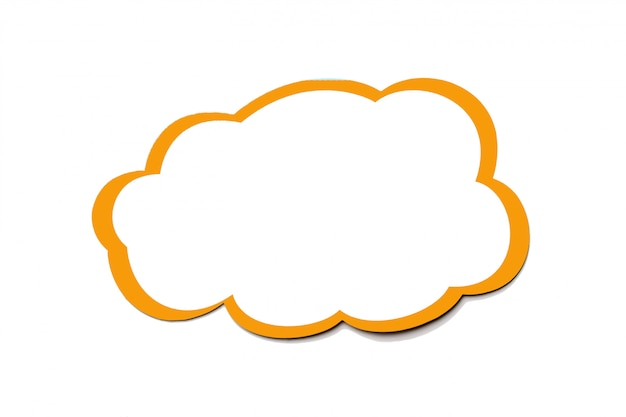 Golden speech bubble as a cloud with yellow border isolated on a white background. copy space.