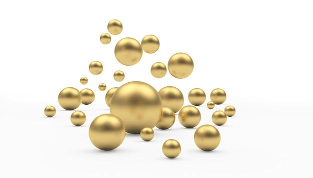 다양한 크기의 황금 구체가 떨어지고 있습니다.