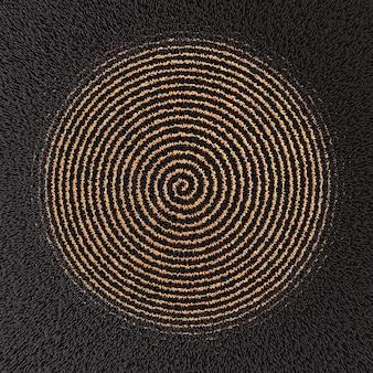 Golden spiral on black fluffy background 3d illustration