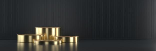 광고 제품 디스플레이 배경 3d 렌더링을위한 황금 무대 연단 플랫폼