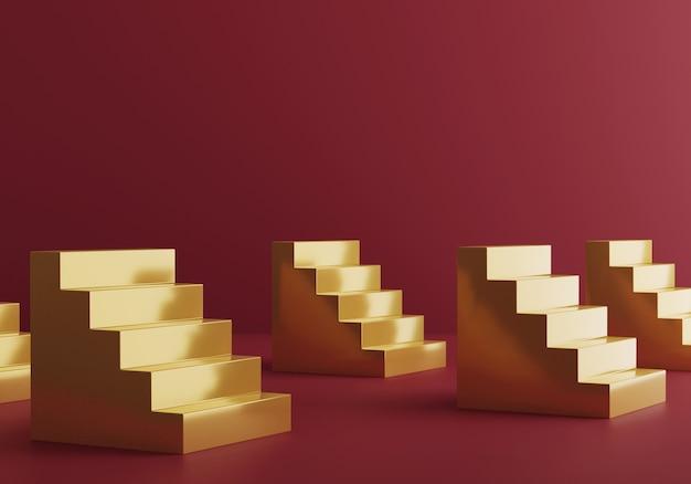 빨간 스튜디오 배경에 황금 계단입니다. 3d 렌더링. 재무부 은행 투자. 경력 경로. 무대