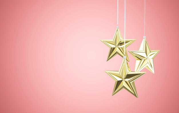 Golden star toys hanging on pink studio background