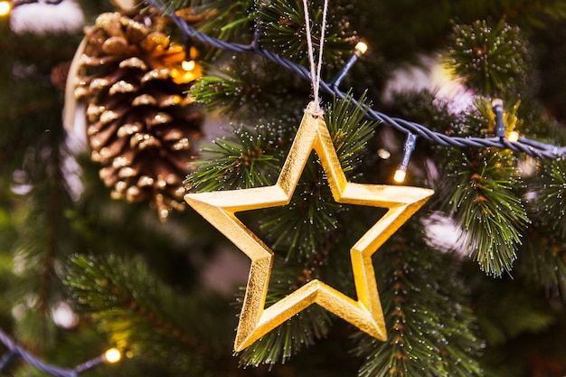 Golden star with cone on christmas tree. new year decorations