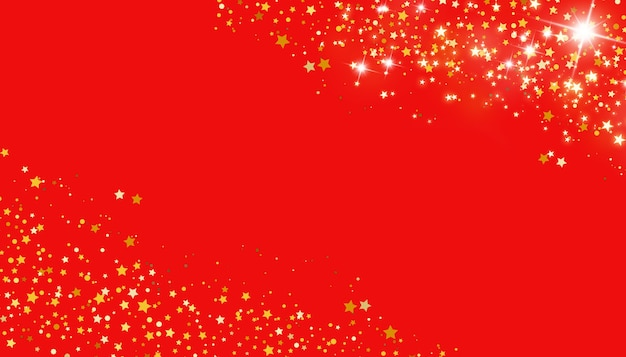Golden stars on red background christmas concept