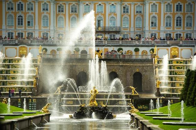 Golden statue of samson in the park of peterhof, russia