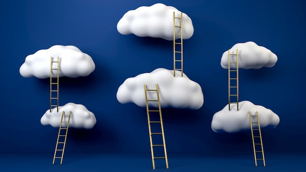 Golden stepladders leading to flying white clouds over blue surface