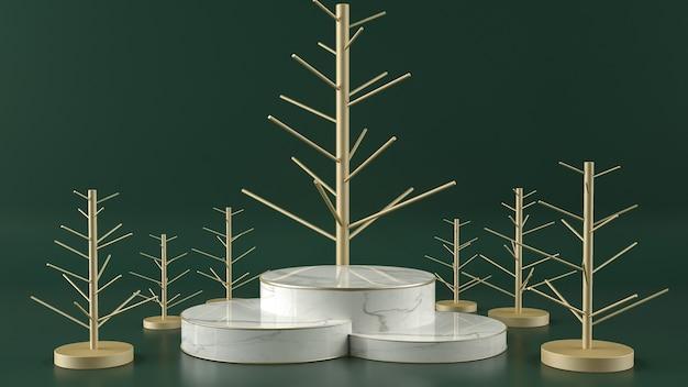 흰색 대리석 받침대가 있는 황금 막대기 크리스마스 트리 모양은 짙은 녹색 배경에 서 있습니다.