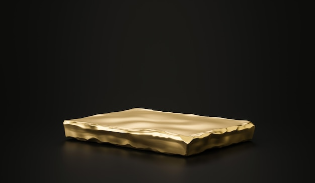 Golden stone plate product background stand or podium pedestal on advertising room display with blank backdrops. 3d rendering.
