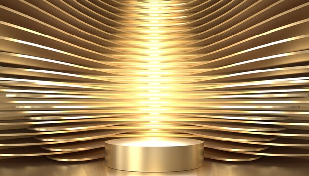 Golden studio pedestal background