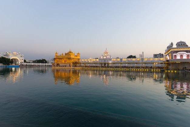 The golden temple at amritsar, punjab, india, the most sacred icon and worship place of sikh religion.