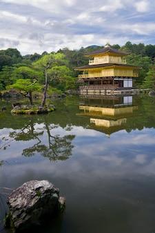 Golden temple near beautiful lake