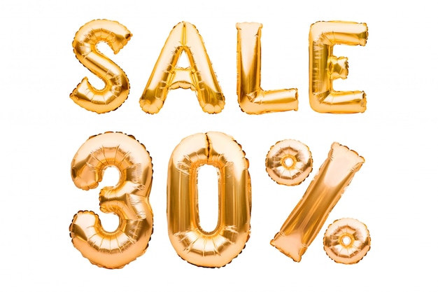 Golden thirty percent sale sign made of inflatable balloons isolated on white. helium balloons, gold foil numbers.
