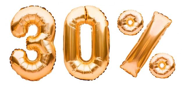 白で隔離される膨脹可能な風船で作られた黄金の30%記号。ヘリウム風船、金箔の数字。セール装飾、30%オフ