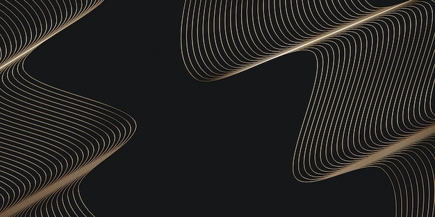 Golden threads on black background cover layout template background for presentation