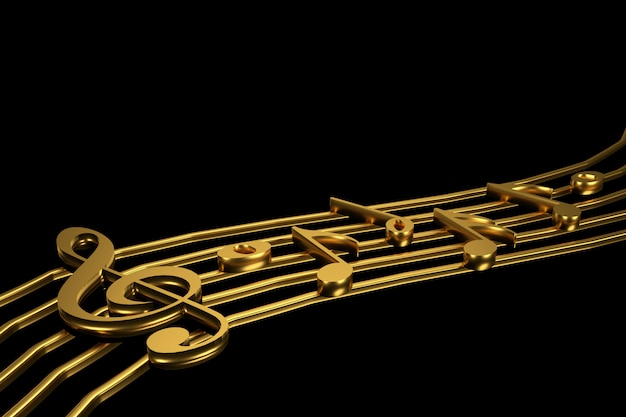 Golden treble clef and music notation 3d rendering.